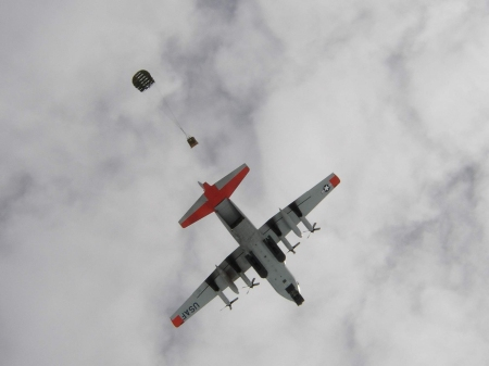 . . . on purpose of course. Here, the 109th delivers via air drop. Photo: Ed Stockard