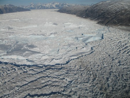The calving front of Helheim Glacier, 2006. Photo: Meredith Nettles
