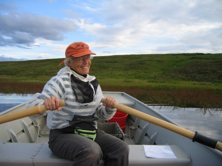 Sally MacIntyre studies the turbulence below the surface of Toolik Lake. She's been able to bring both her children to the camp as young adults to help her with her research.